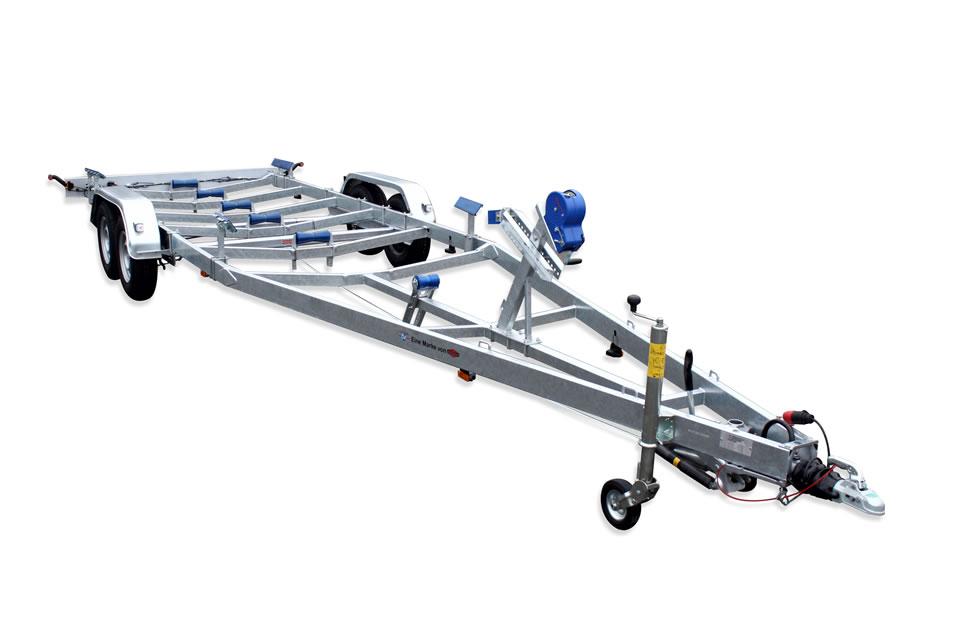 Prikolica za prevoz čolnov z naletno zavoro BA 3500 L
